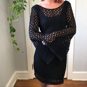 Free People Boho Crochet Bell Sleeve Mini Dress